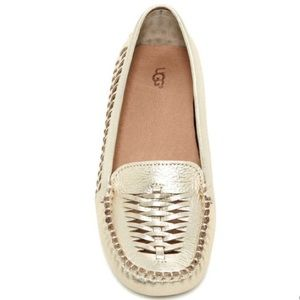 UGG Clary Gold Metallic Woven Loafers Size 8